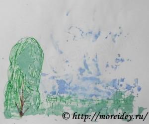 """Монотипия для детей, как сделать монотипию, монотипия картинки """"Пейзаж"""""""