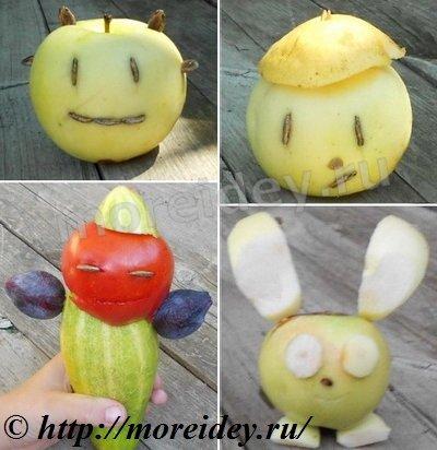 Поделки из овощей и фруктов, поделки из яблок