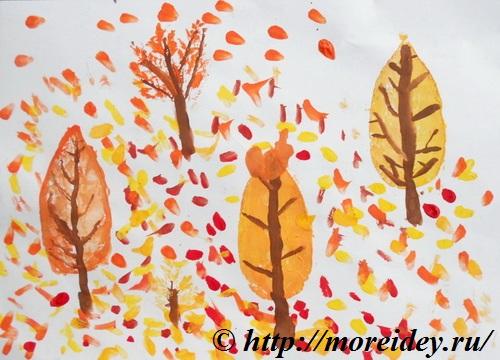 """Картина из отпечатков листьев """"Осенний листопад"""""""