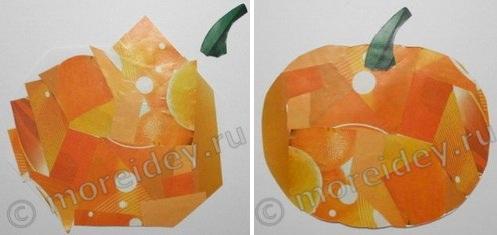 Осенняя поделка на тему урожай: аппликация тыква