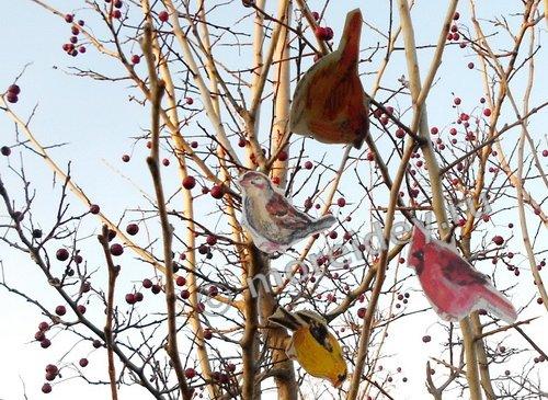 Распечатать бумажных птиц, Бумажные птицы для распечатки, распечатать елочные игрушки - птичек