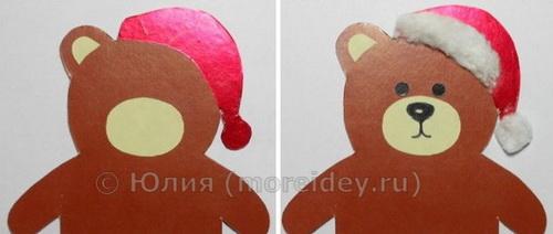 """Пошаговый мастер-класс новогодней поделки """"Медвежонок с подарком"""""""