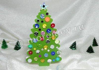 детская поделка новогодняя елочка из картона