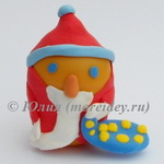 Детская поделка Дед Мороз из контейнера от киндер-сюрприза