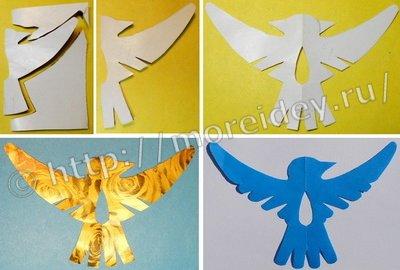 """Весенняя поделка """"Птички"""" из бумаги для украшения окон в технике симметричного вырезания"""