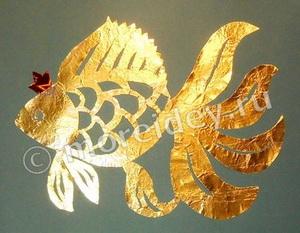 Золотая рыбка - поделка из фольги по сказке Пушкина