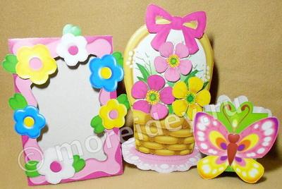 """Подарки к 8 марта из набора """"Весенние сюрпризы"""" - фоторамка, открытка и коробочка-бабочка"""