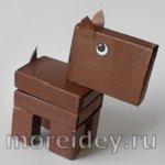 Собачка Шоколадка — поделка из спичечных коробков
