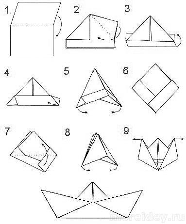 Как сделать бумажный кораблик схема