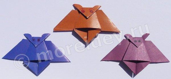 Летучая мышь, поделка-оригами