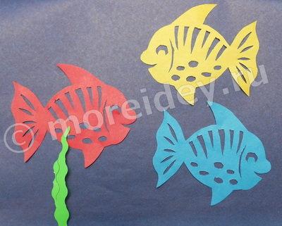 ажурное вырезание рыбки с шаблоном