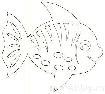 Шаблон детской вытынанки рыбки