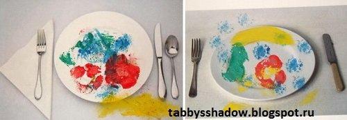 Поделка по стихотворению Михалкова методом штамповки: еда - фрукты на тарелке