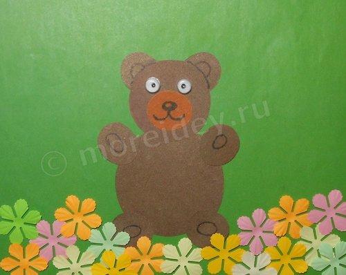 Аппликация из кружочков медвежонок для малышей