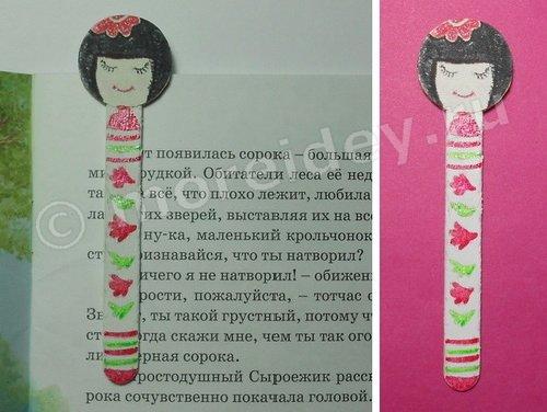 Кукла кокэси - закладка для книг из палочки от мороженого