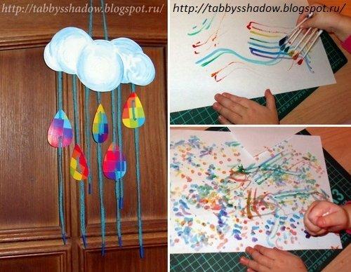 Поделки по сказкам Усачева: мобиль и рисунок ватными палочками