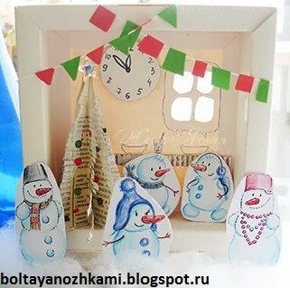 домик изкартона своими руками для семьи снеговиков