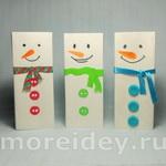 Снеговики из пакетов от сока