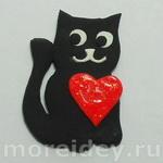 Магнит на холодильник с котиком и сердечком своими руками