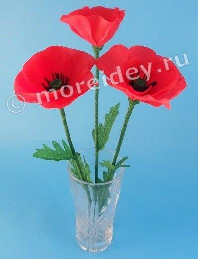 Цветы маки из гофрированной бумаги