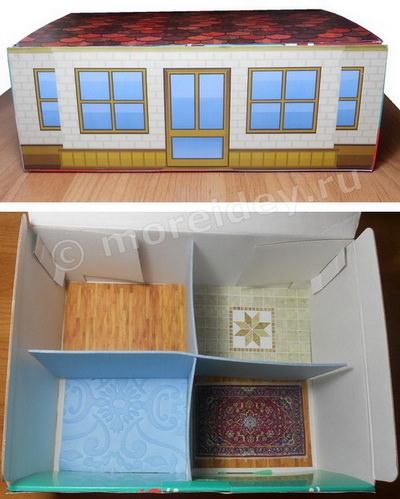 Кукольный домик из коробки своими руками