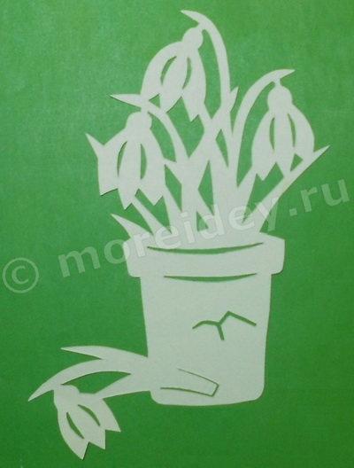 Поделка цветы подснежники (вырезание из бумаги)