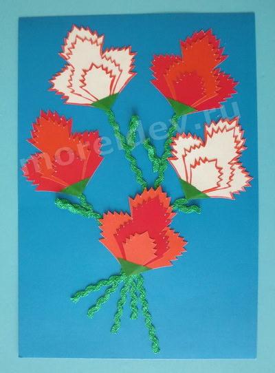 Детская поделка цветы гвоздики (аппликация из бумаги) своими руками в детском саду