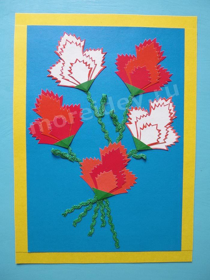 аппликация цветы в детском саду