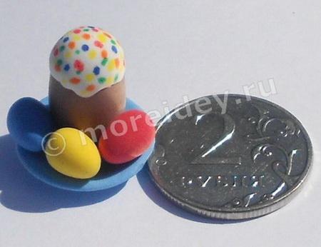 Игрушечная миниатюрная еда для кукол: поделка к Пасхе кулич с крашенными пасхальными яйцами