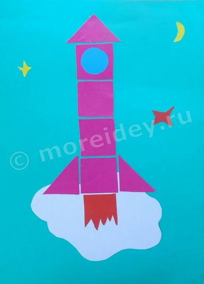 Поделка на тему космос: аппликация из геометрических фигур ракета