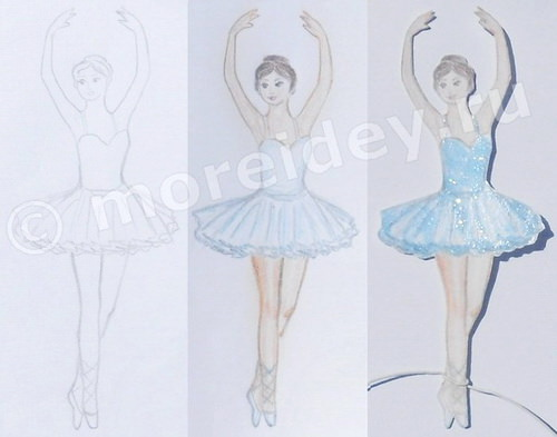 Балерина рисунок простым карандашом и цветными карандашами