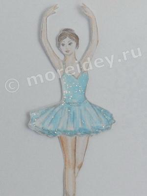 Балерина рисунок - картонная (бумажная) куколка