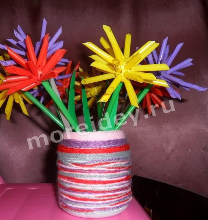 Поделки из коктейльных трубочек цветы астры в вазе из ниток