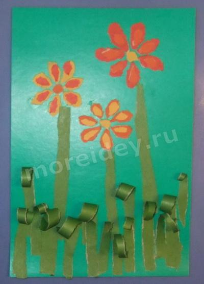 обрывная объемная аппликация цветы поэтапный пошаговый мастер-класс