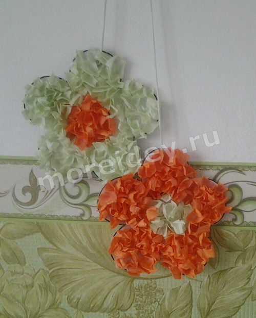 поделка цветы из гофрированной бумаги своими руками пошаговый мастер класс с фото