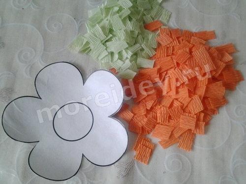 Делаем цветы из гофрированной бумаги своими руками