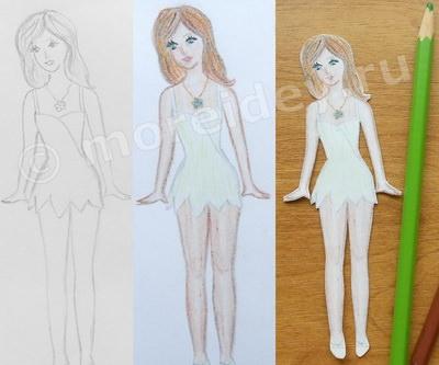 фея - рисунок цветными карандашами