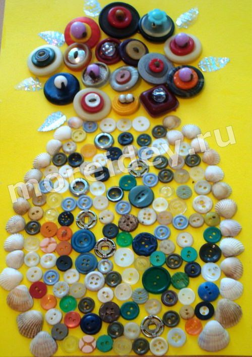 поделка из пуговиц цветы (аппликация, мозаика из пуговиц)