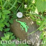 Объемная зеленая ящерица из бусинок