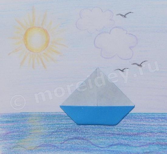 Поделки на морскую тему: лодка (кораблик) с парусом оригами пошаговая схема