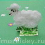 Поделка овечка из ваты
