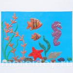 Рисунок пластилином и бисером: подводный мир (поделка на морскую тему)
