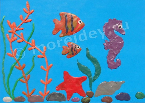 Рисунки пластилином на картоне для детей: поделка подводный мир фото