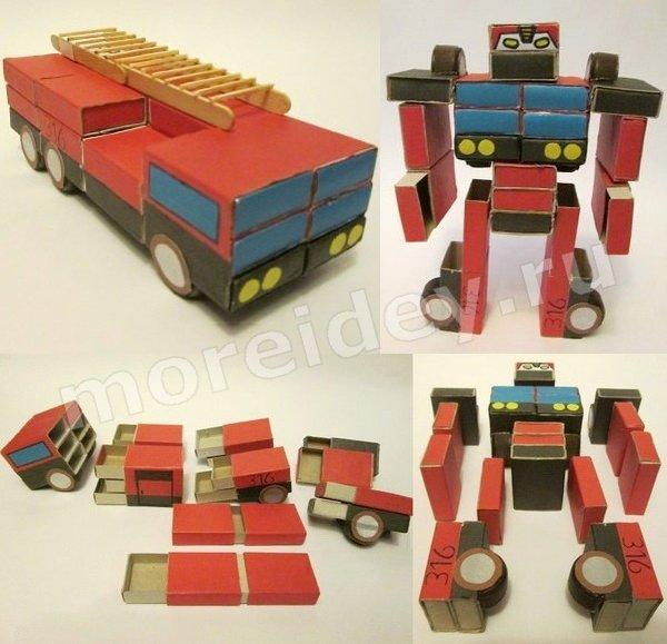 поделки из спичечных коробков: пожарная машина и робот-трансформер