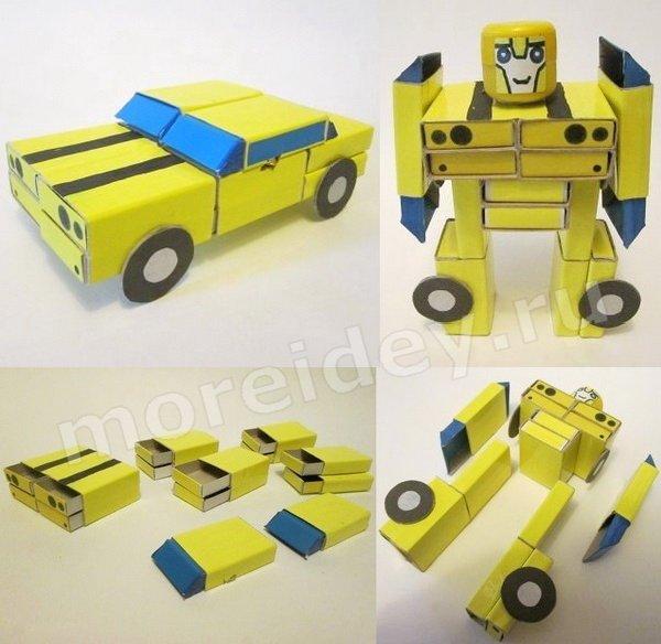 поделка робот-трансформер из спичечных коробков своими руками фото