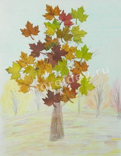 поделки (аппликации) из осенних листьев