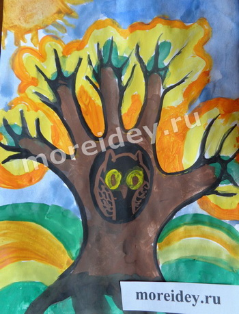 Осенние детские рисунки из ладошек: рисунок осеннее дерево с совой