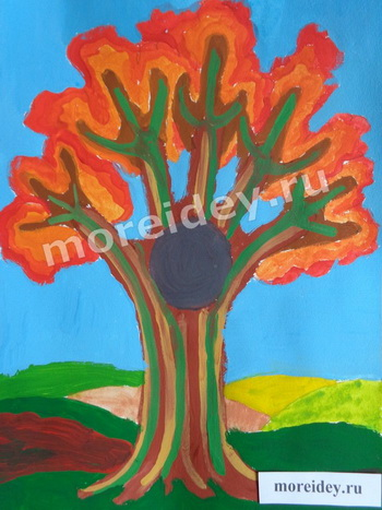 Осеннее дерево - рисунок отпечатками ладошек
