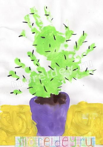 Нетрадиционные техники рисования: рисование ладошками: кактус