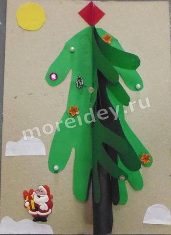 Поделки из ладошек к Новому году: поделка новогодняя елочка из ладошек